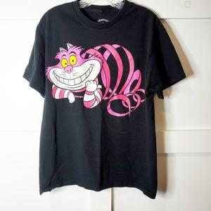 Disney Cheshire Cat Pink Black Tee T-Shirt Large